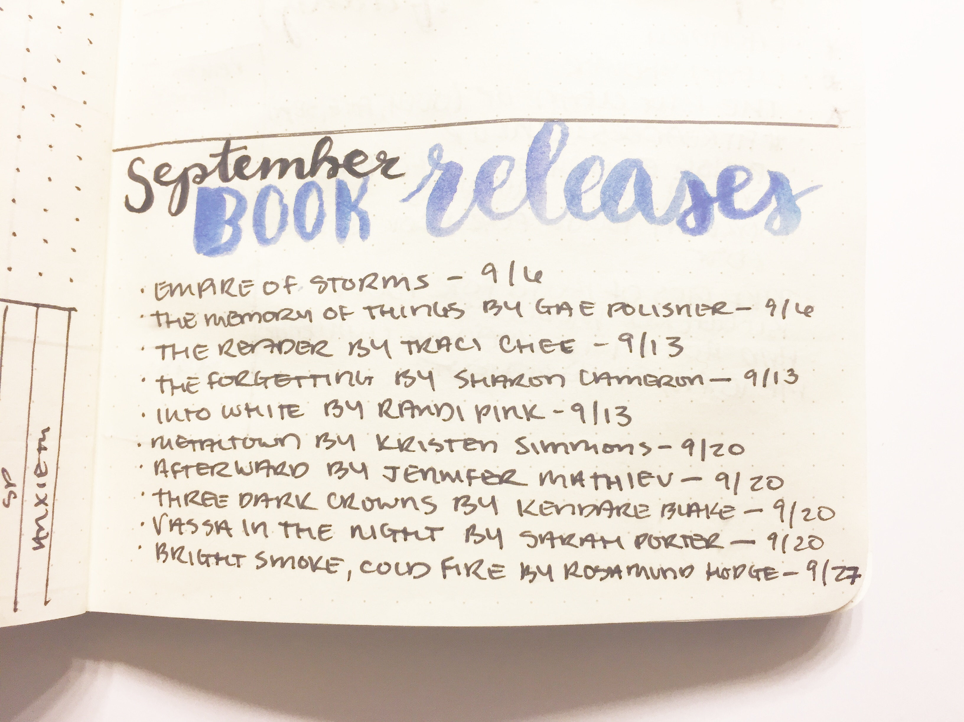 september book releases bujo module pic